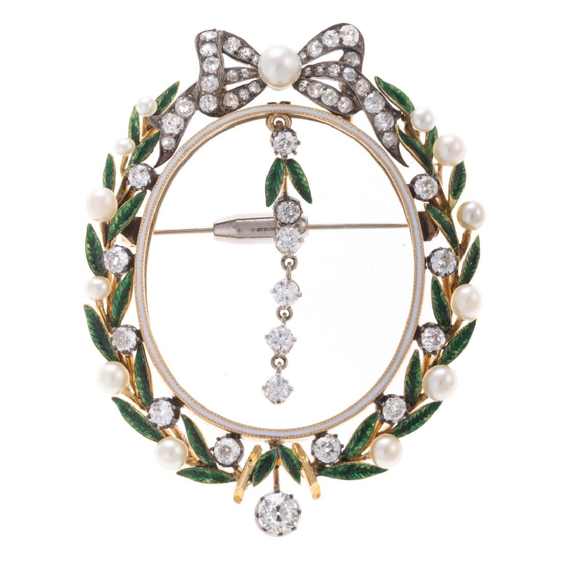 A Pearl, Diamond and Green Enamel Wreath Brooch