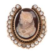 A Victorian Cameo Seed Pearl Horseshoe Ring