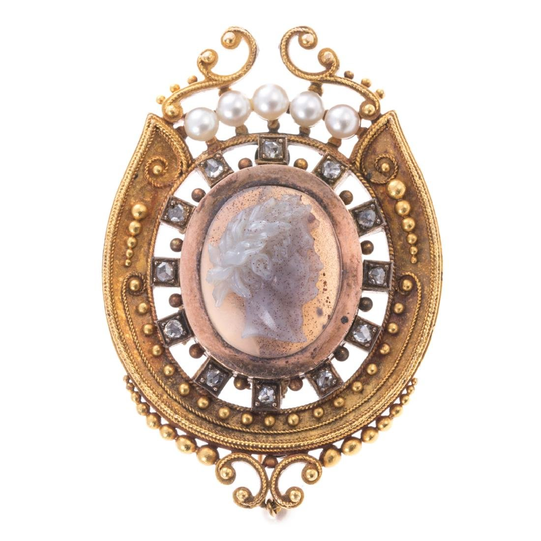 A Victorian Jade Cameo, Diamond & Pearl Brooch