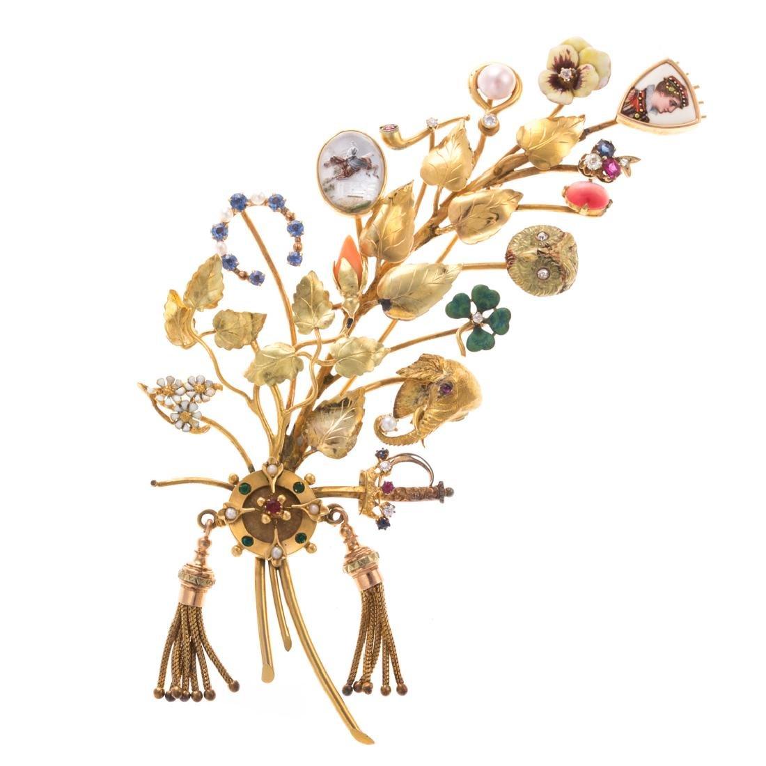 A Lady's Leaf Stick Pin Brooch by Oscar Caplan