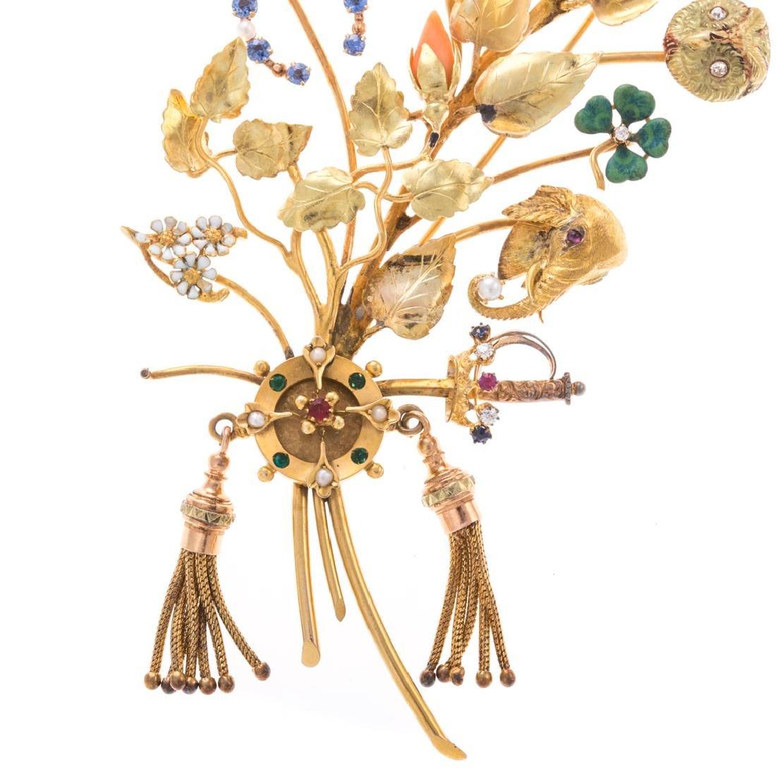 A Lady's Leaf Stick Pin Brooch by Oscar Caplan - 2