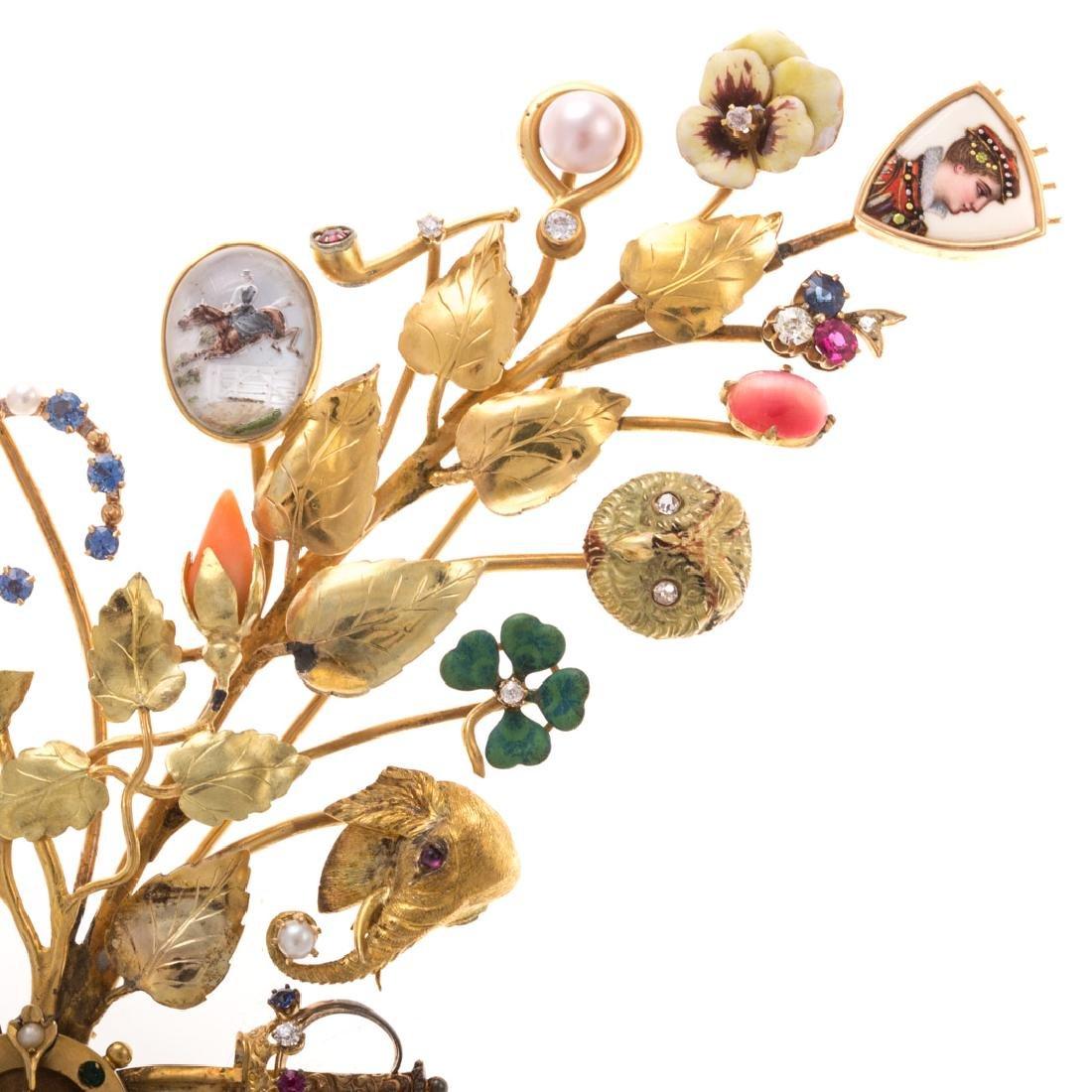 A Lady's Leaf Stick Pin Brooch by Oscar Caplan - 3