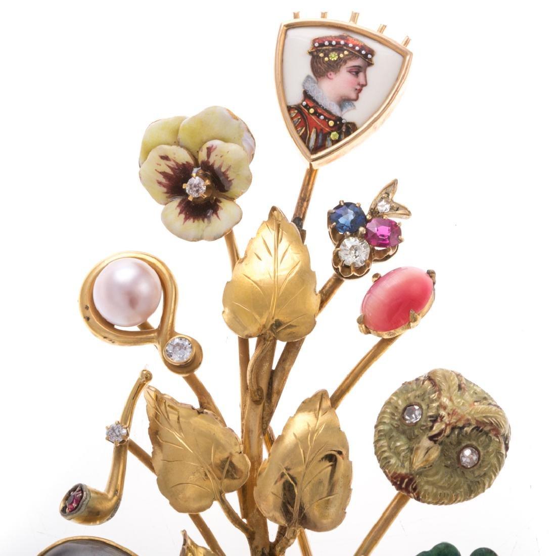 A Lady's Leaf Stick Pin Brooch by Oscar Caplan - 4