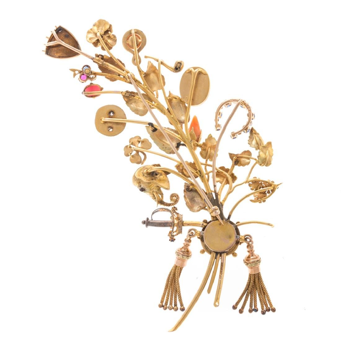 A Lady's Leaf Stick Pin Brooch by Oscar Caplan - 5