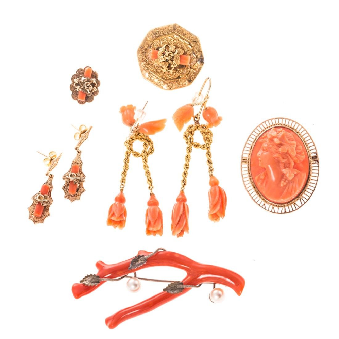 A Collection of Lady's Victorian Coral Jewelry