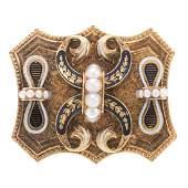 A Ladys Victorian Enamel  Pearl Pin