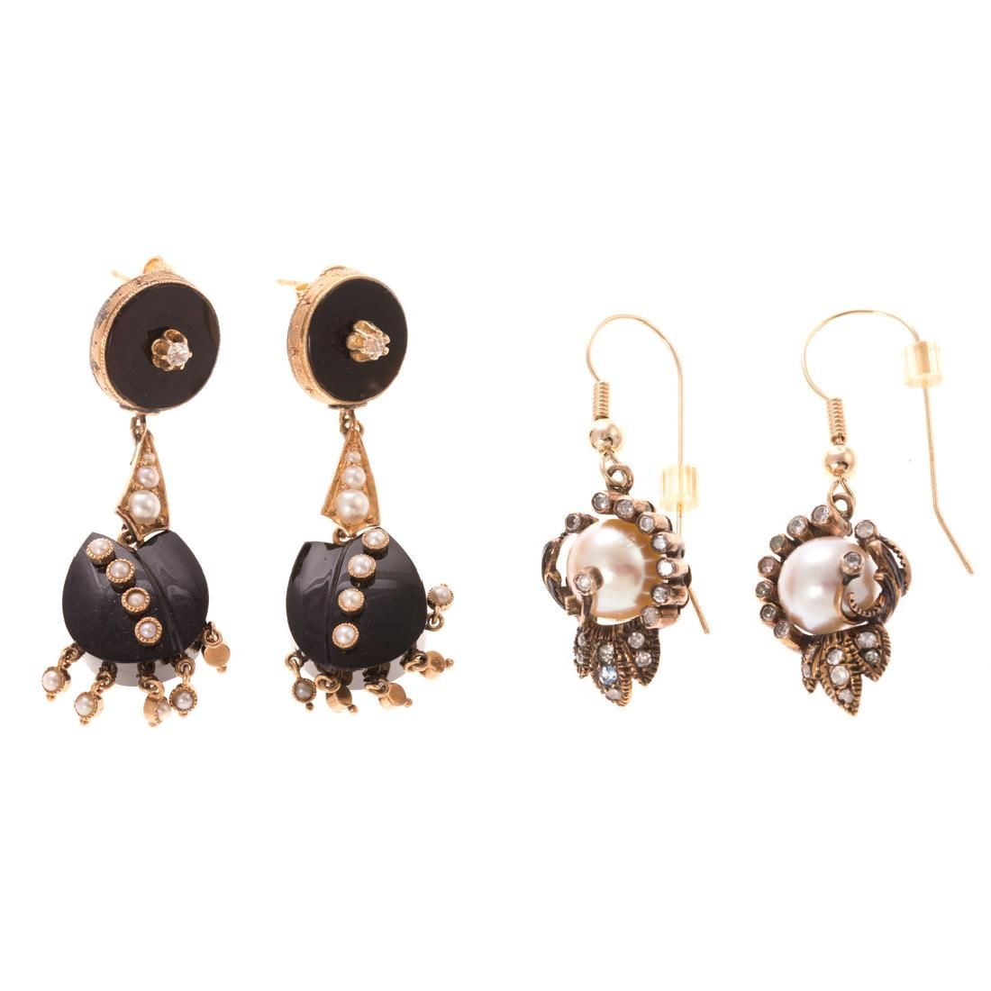 Two Pair of Victorian Earrings in 14K Gold