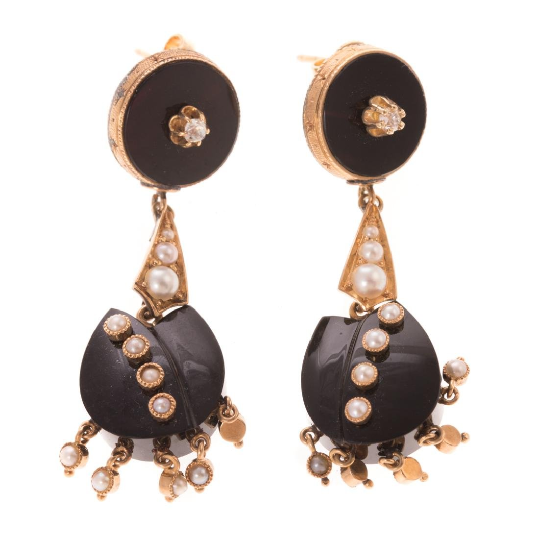 Two Pair of Victorian Earrings in 14K Gold - 3