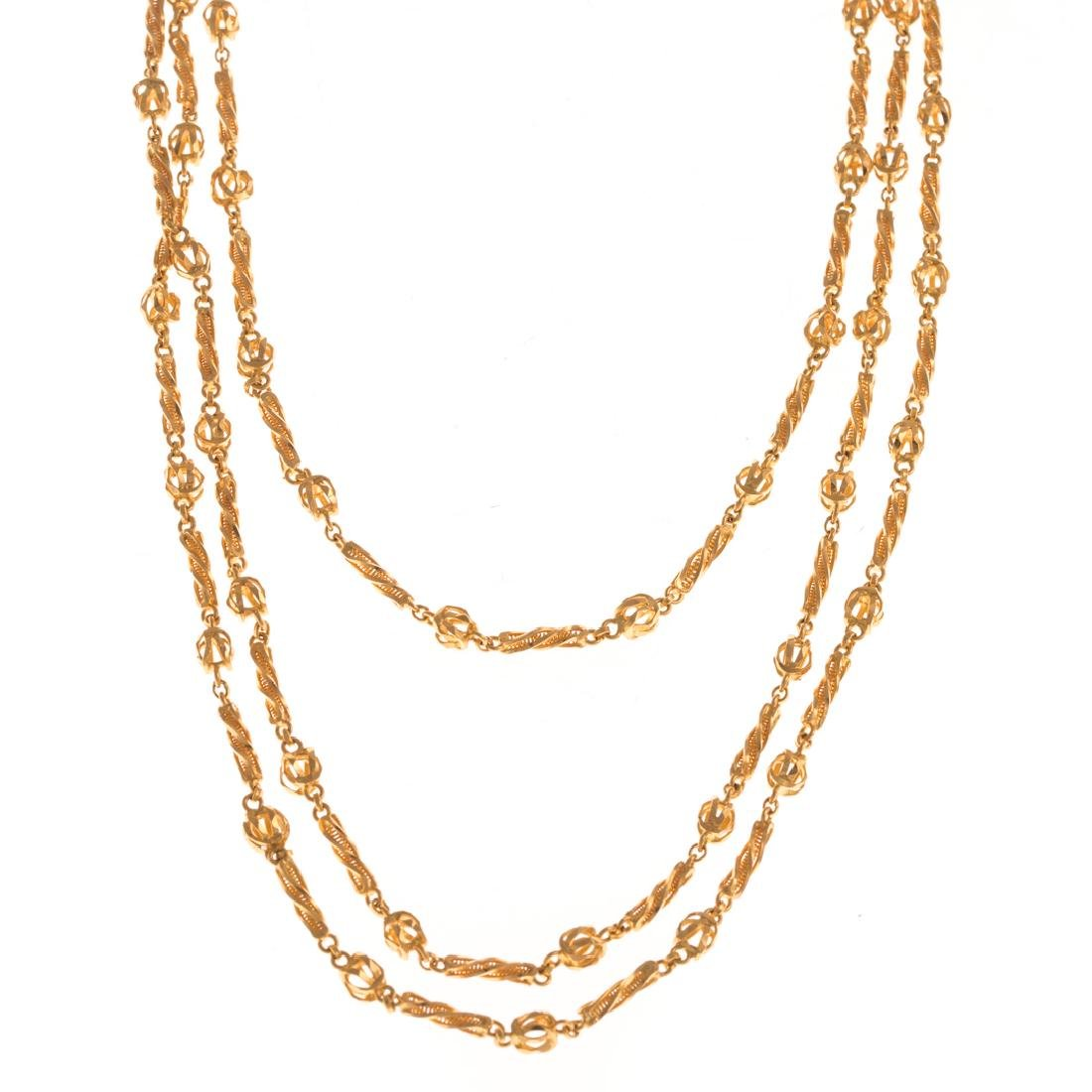 A Lady's Long 22K Indian Link Necklace