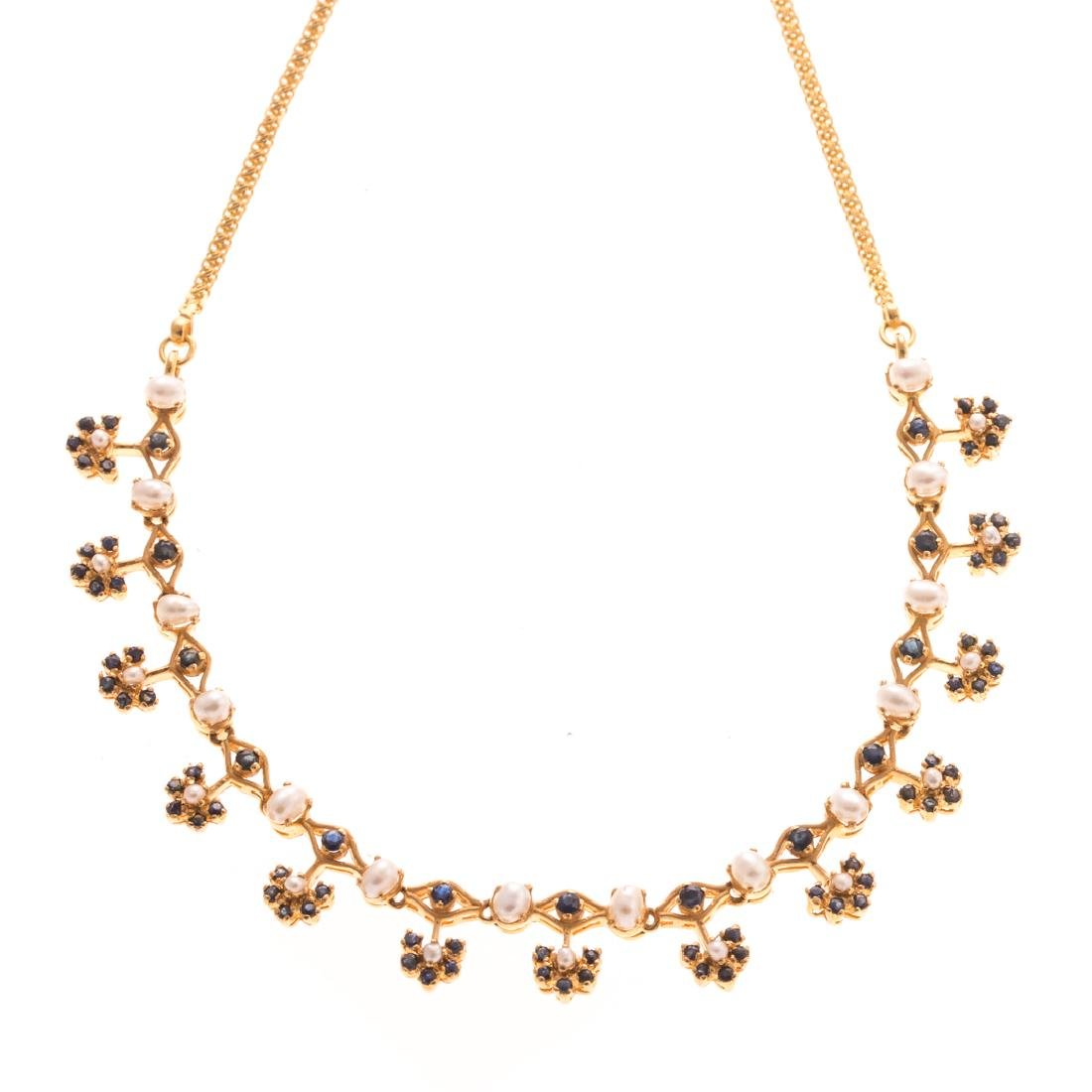 A Lady's 22K Gold Necklace with Pearls & Sapphires