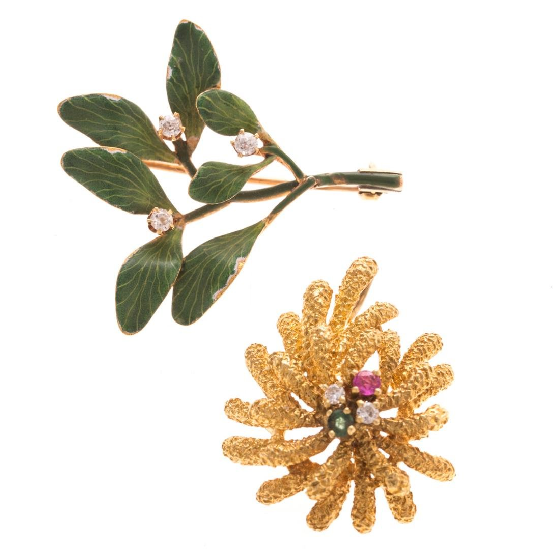 A Green Enamel Leaf Brooch & Gemstone Pendant