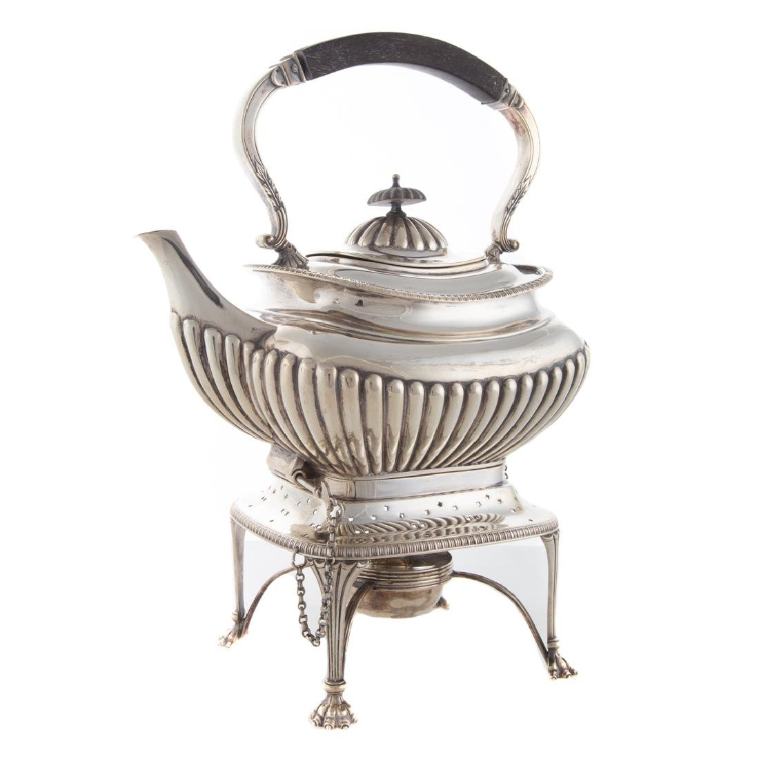 Edward VII silver hot water kettle on stand