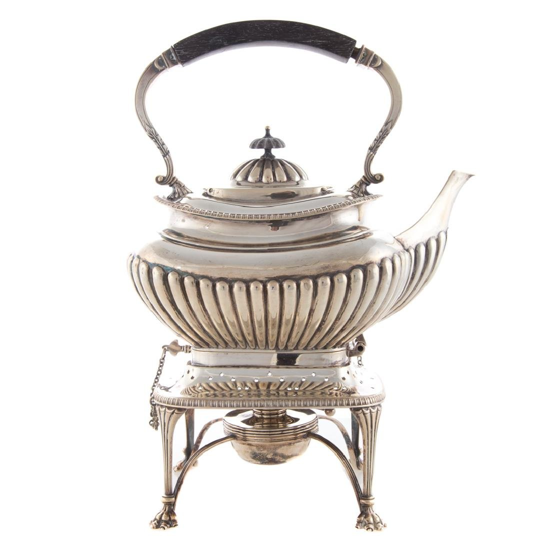 Edward VII silver hot water kettle on stand - 2