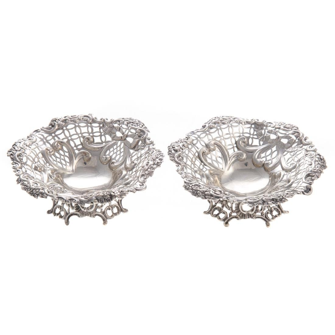 Pair Victorian silver open worked bon bon dishes