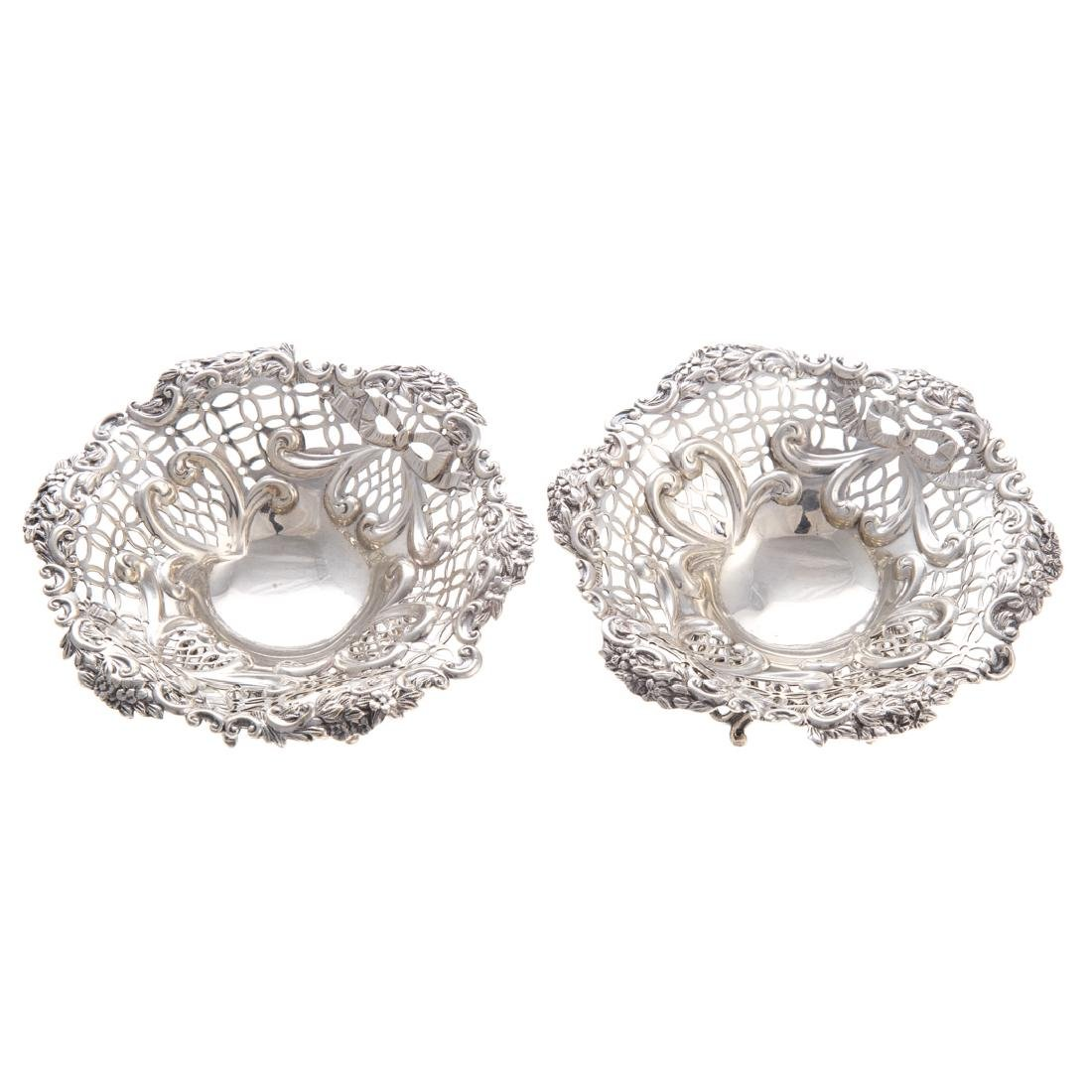 Pair Victorian silver open worked bon bon dishes - 2