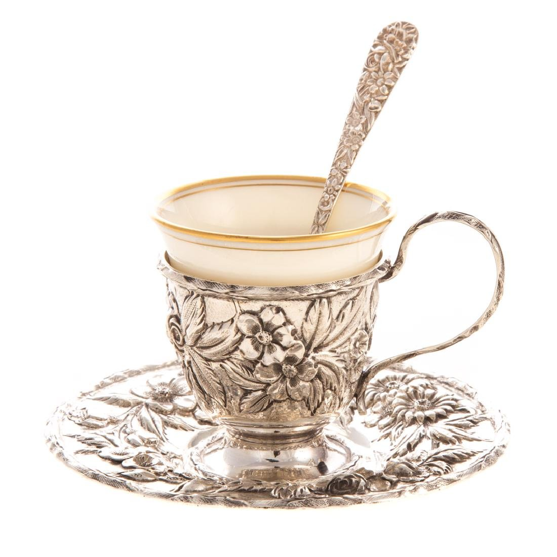 """Kirk """"Repousse"""" sterling demitasse cup & saucer"""