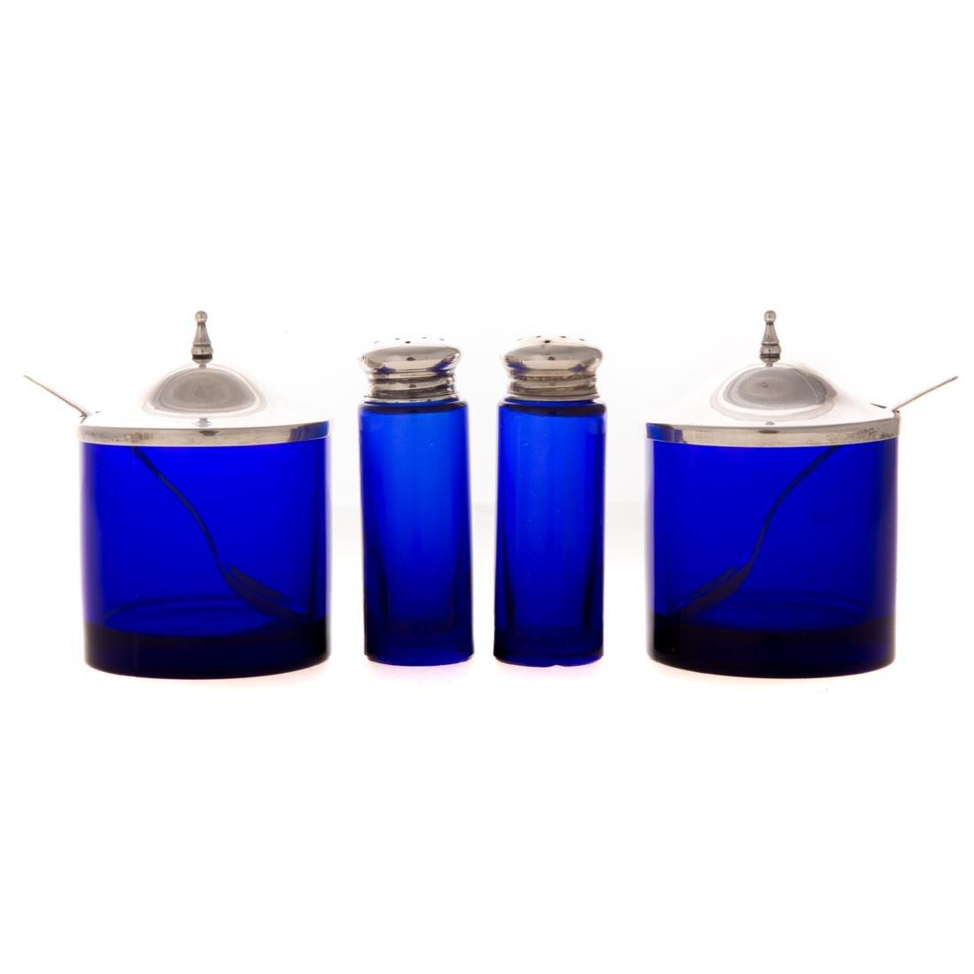 Webster sterling & cobalt glass condiment caddy - 3