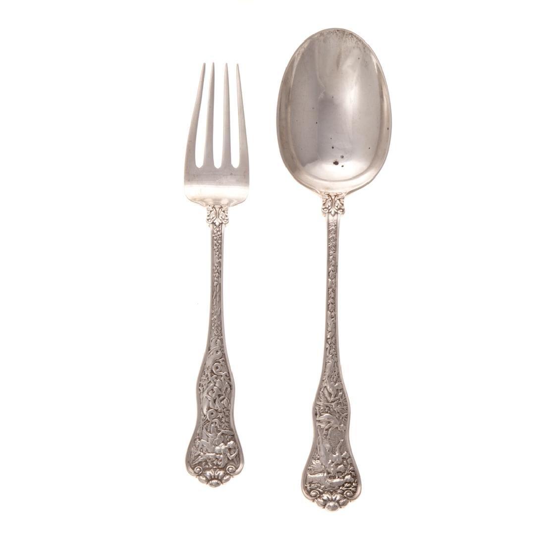 "Tiffany ""Olympian"" sterling serving fork & spoon"