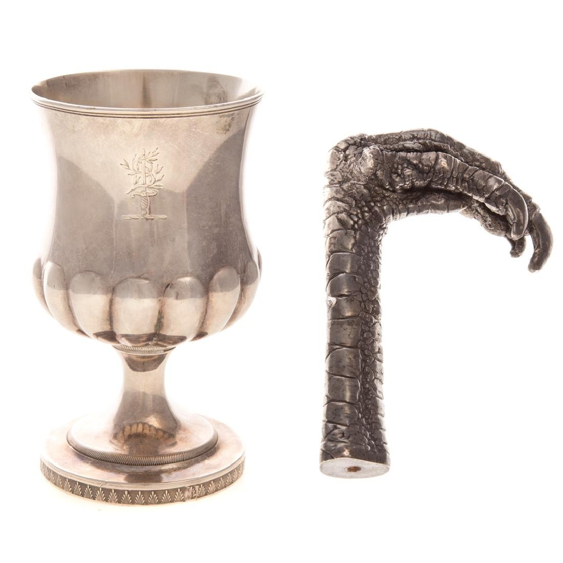George III silver armorial goblet