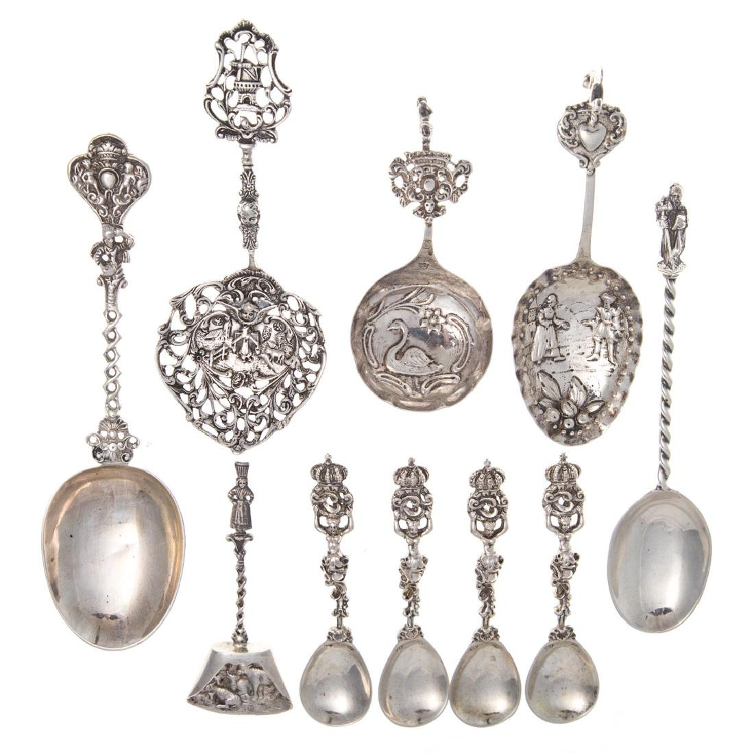 10 Continental silver spoons