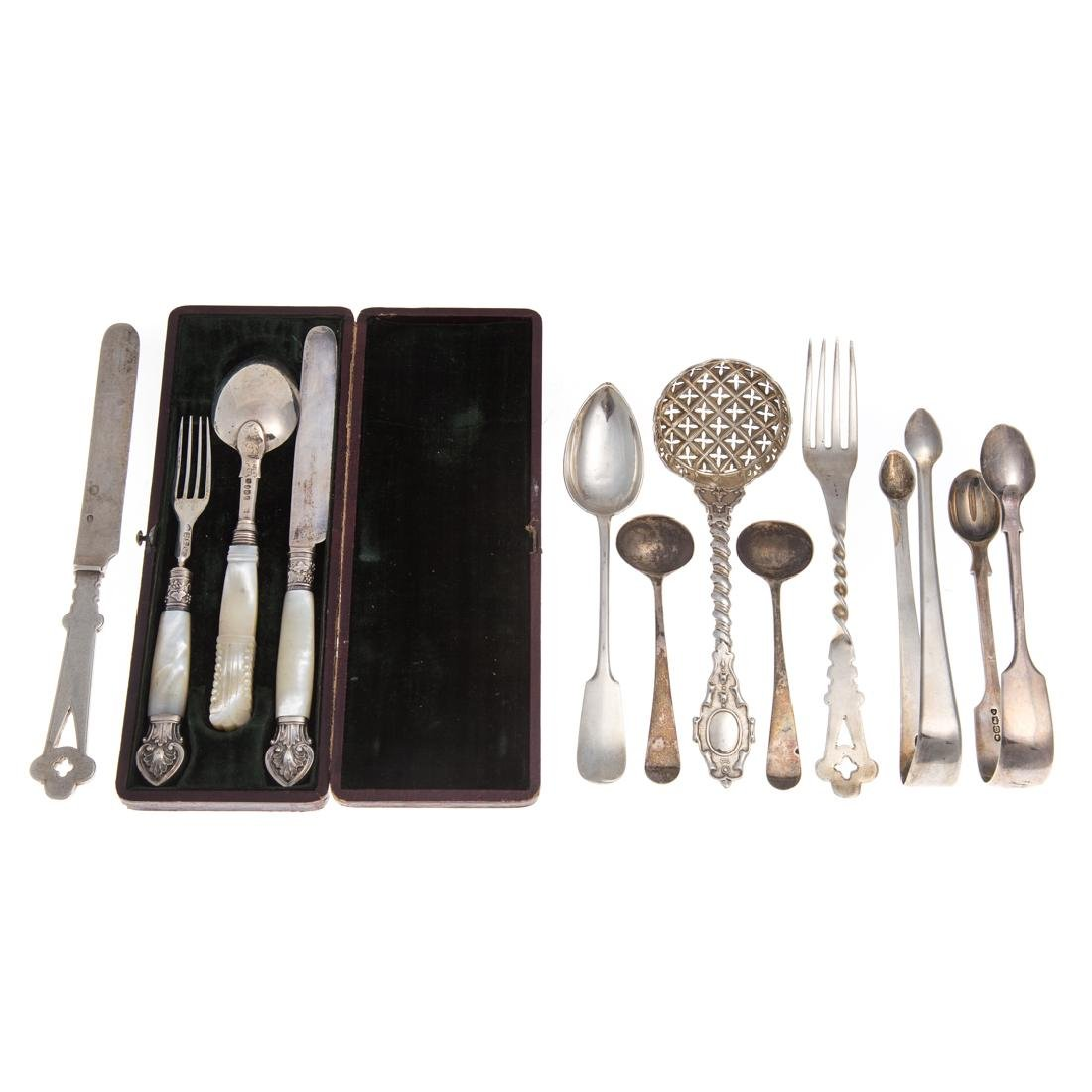 11 pieces English and Continental silver flatware