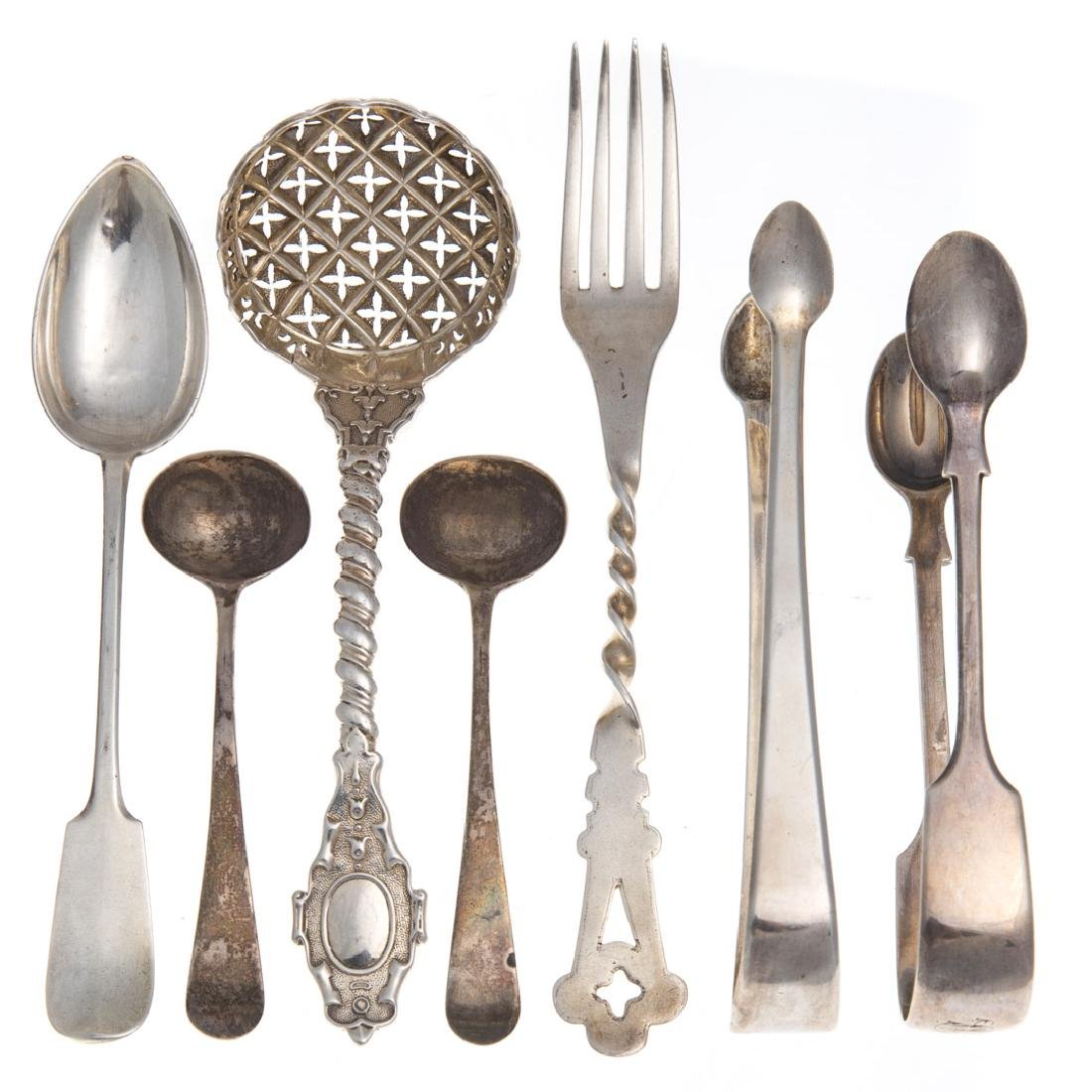 11 pieces English and Continental silver flatware - 2
