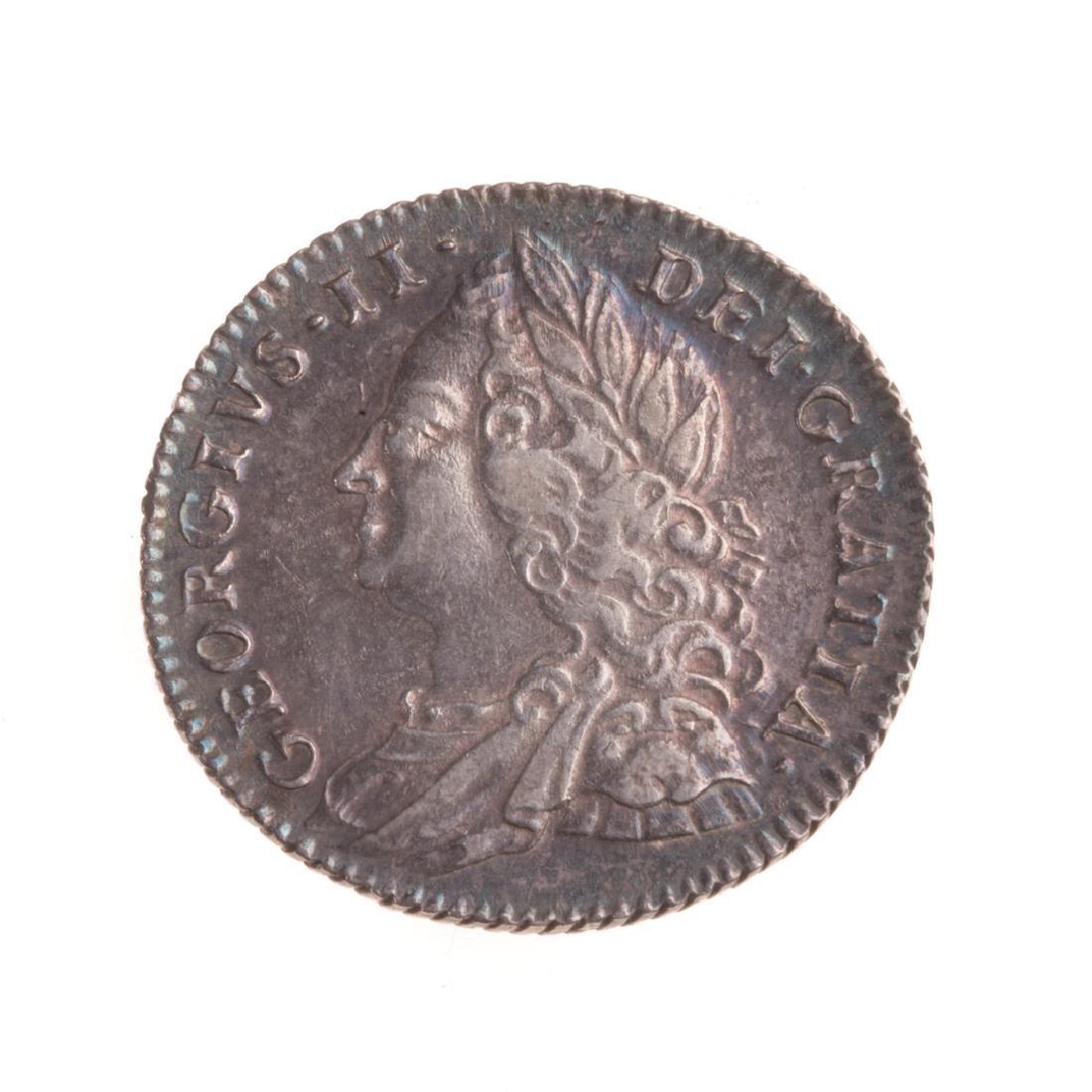 [World) UK 1757 George II Six Pence XF/AU