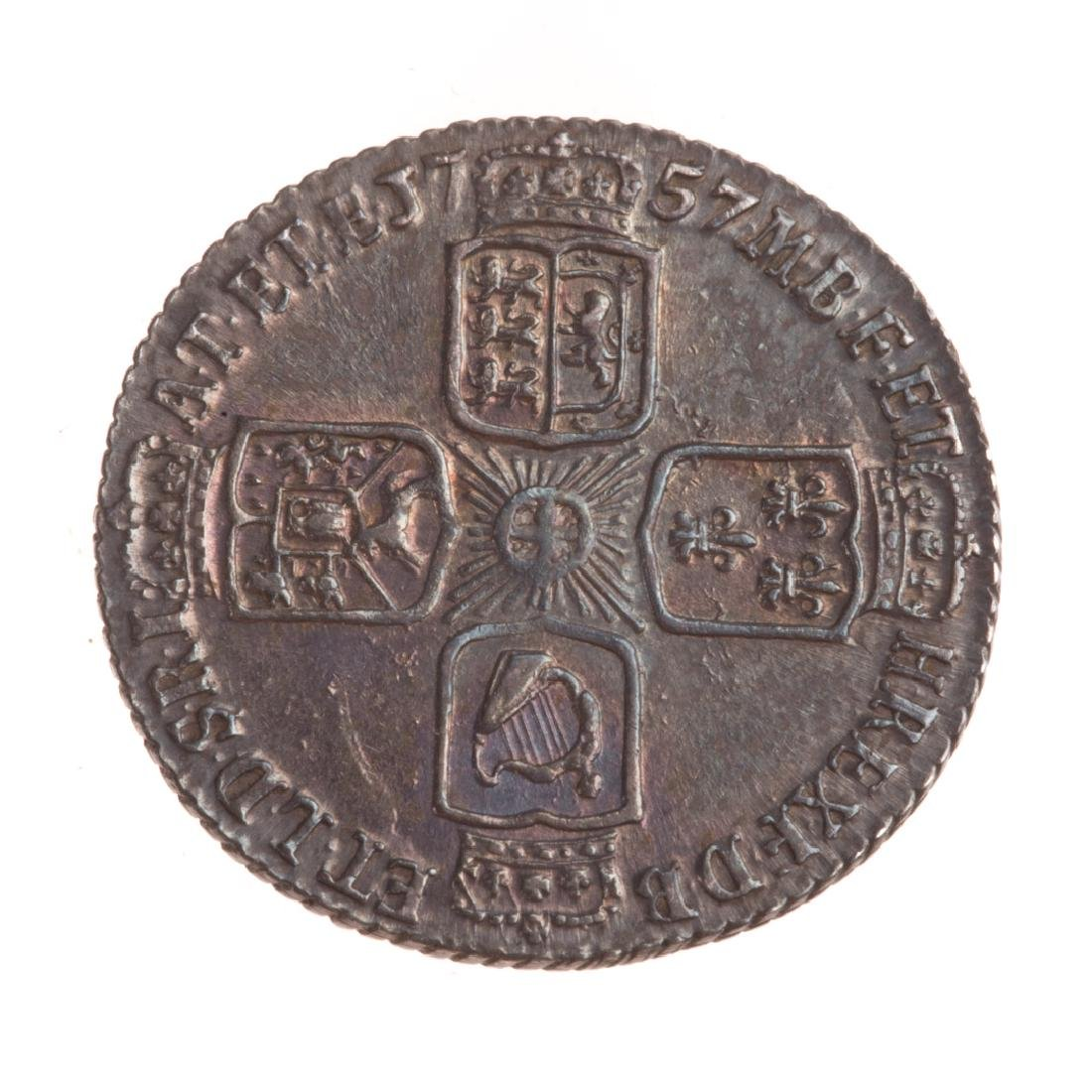 [World) UK 1757 George II Six Pence XF/AU - 2
