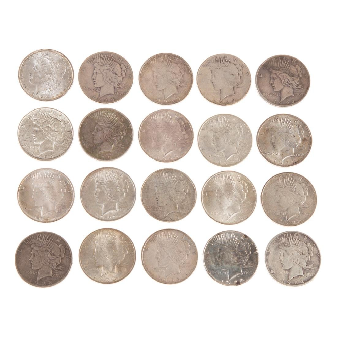 [US] 19 Peace Dollars and 1887 AU+ Morgan