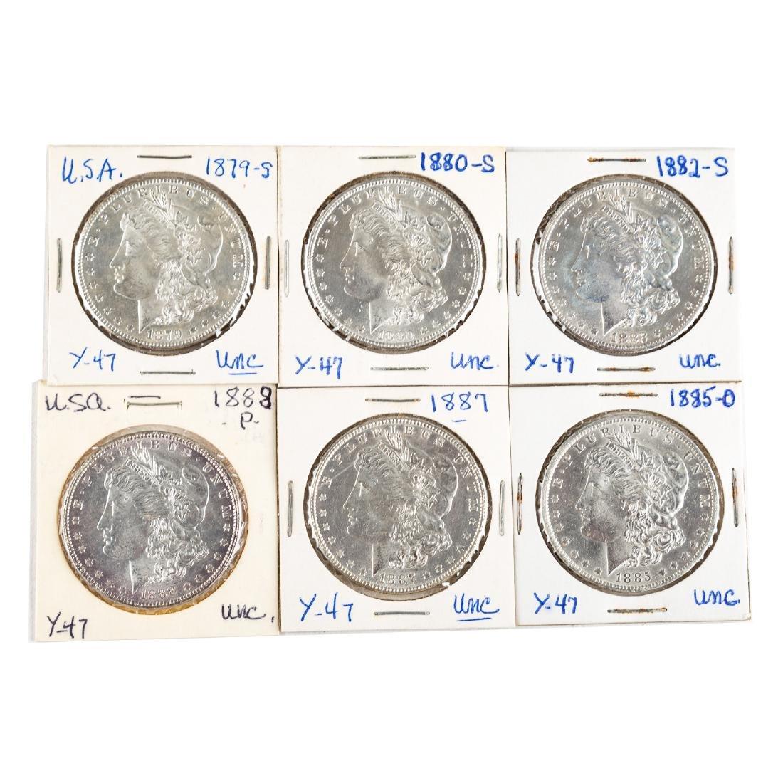 [US] Six Uncirculated Morgan Dollars