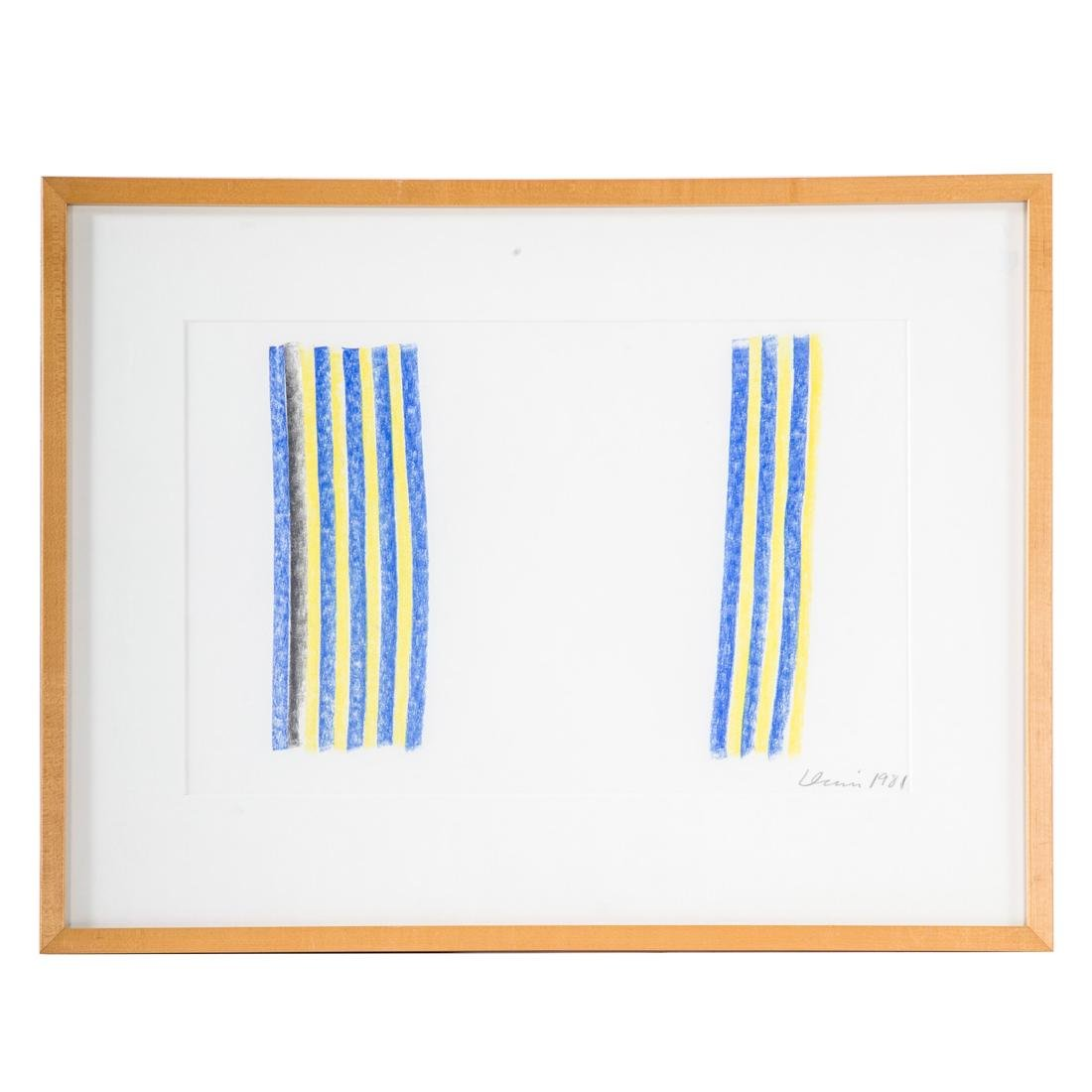 Gene Davis. Untitled Blue and Yellow, pastel