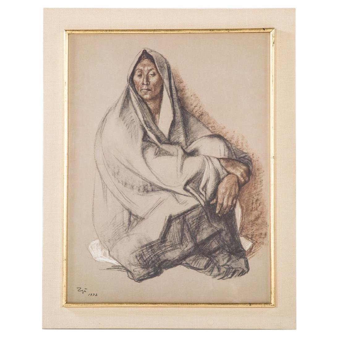 "Francisco Zuniga. ""Seated Woman with Shawl,"" litho"