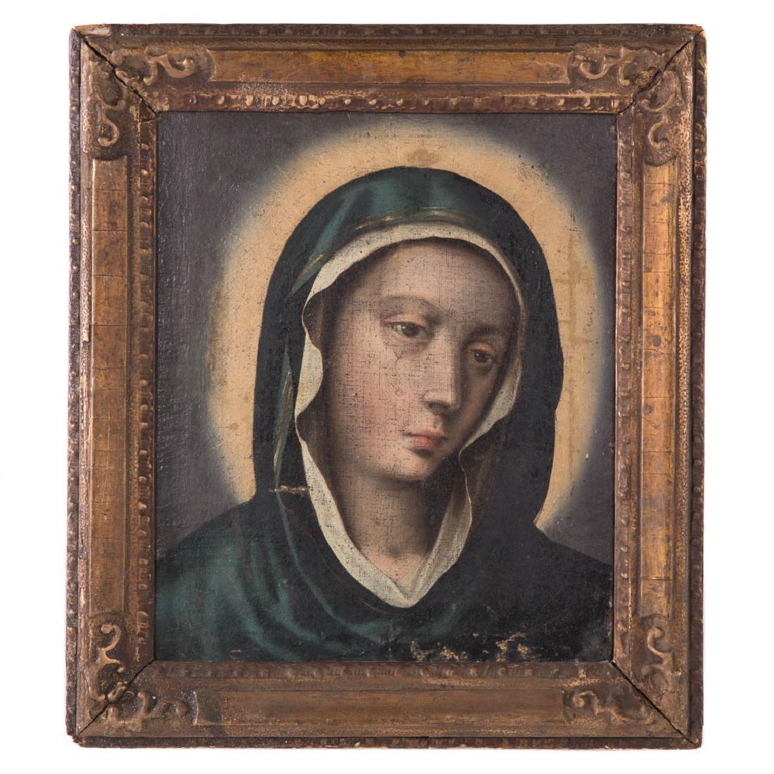 Italian School, 17th c. Head of the Madonna, oil