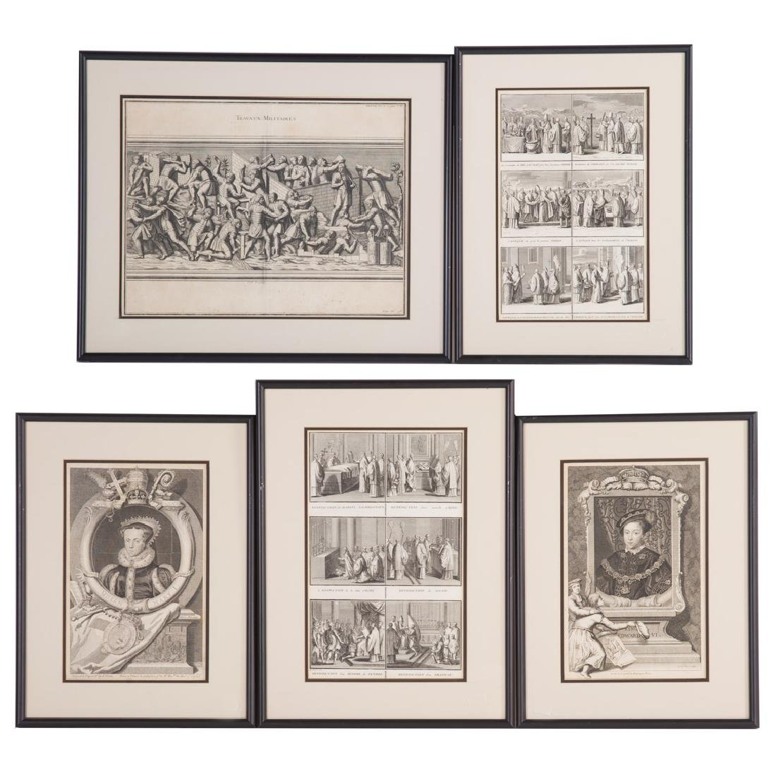 2 George Vertue Engravings & 3 French Engravings