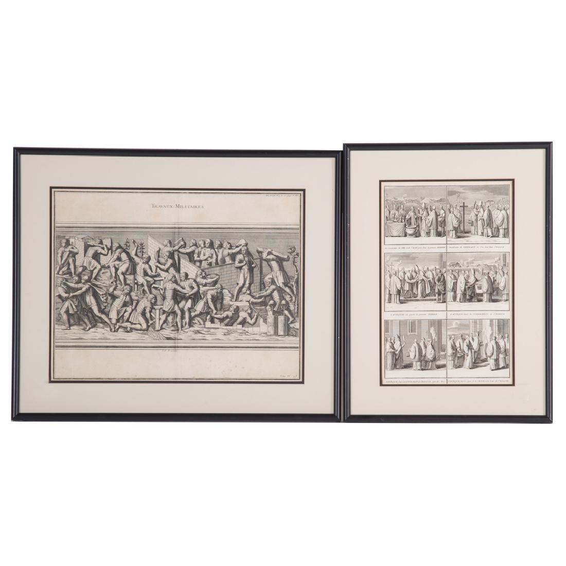 2 George Vertue Engravings & 3 French Engravings - 4