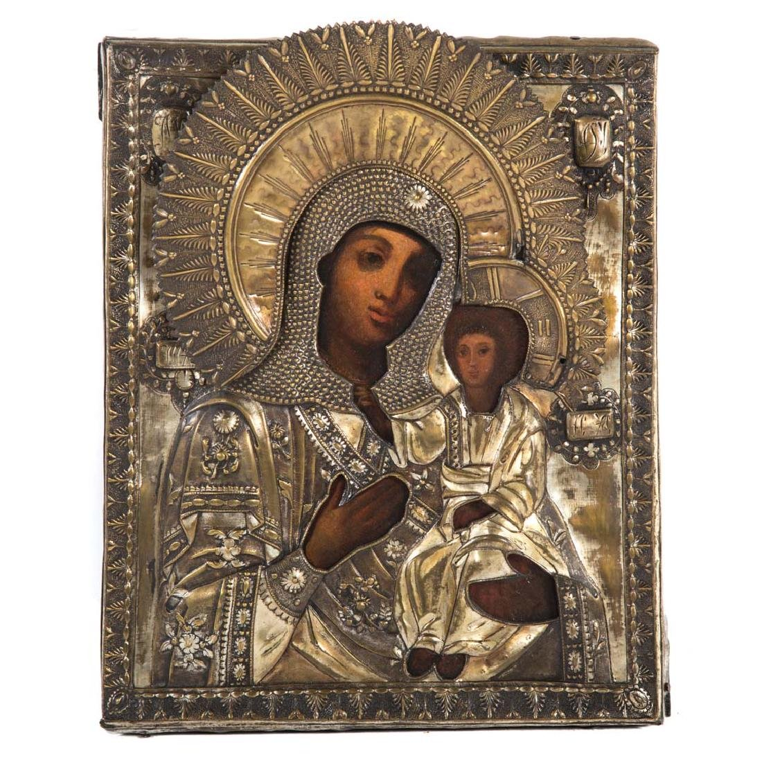 Russian Icon. Mother of God Smolensk, oil on panel