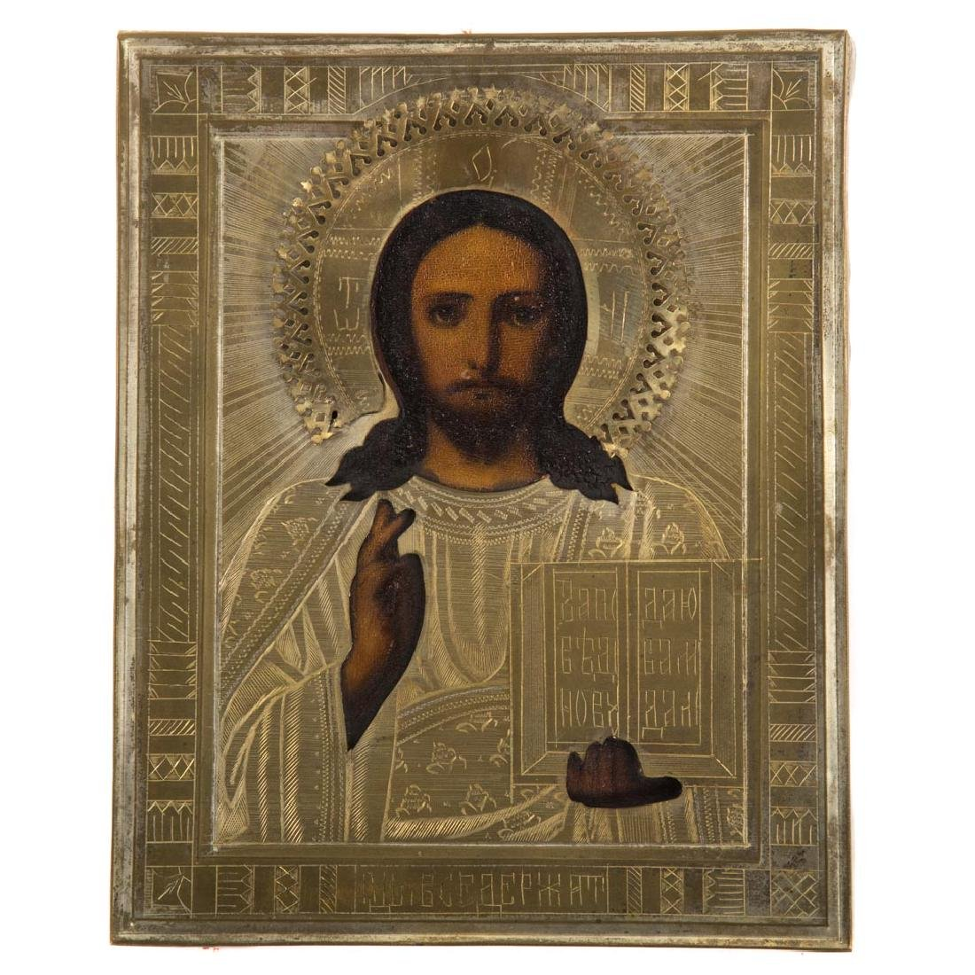 Russian Icon, late 19th c. Christ Pantocrator, oil