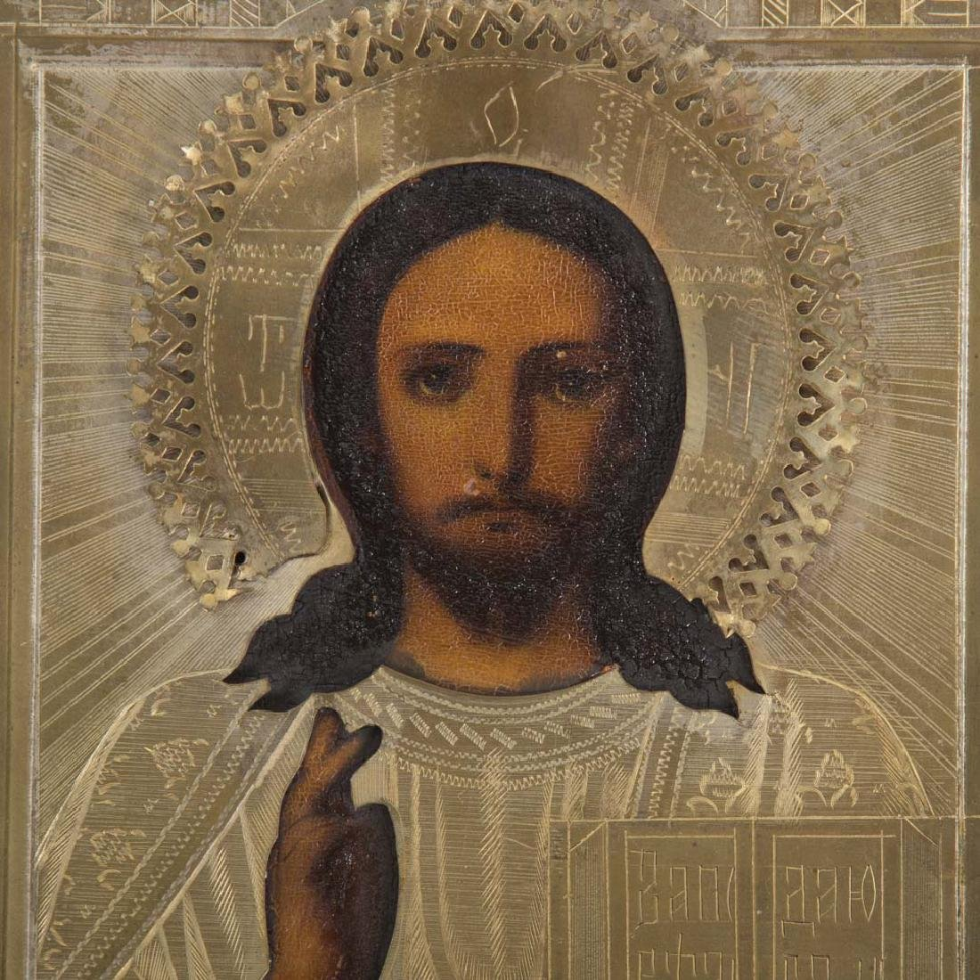 Russian Icon, late 19th c. Christ Pantocrator, oil - 2