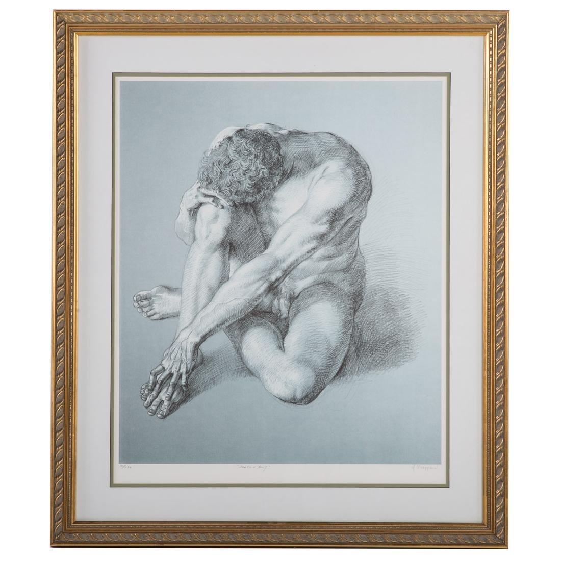 "Joseph Sheppard. ""Seated Boy,"" offset lithograph"