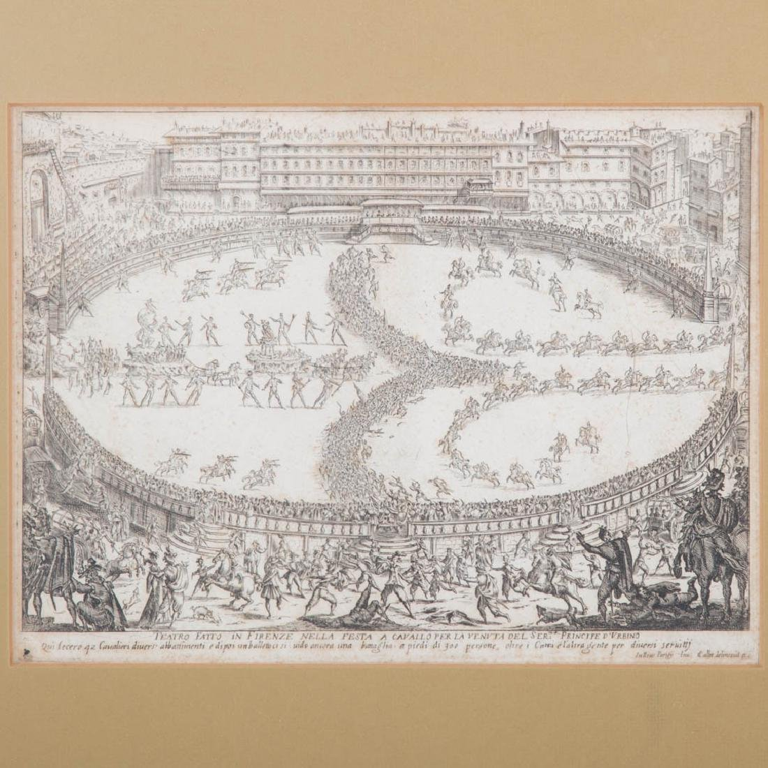 Jacques Callot. Two framed etchings of Florence - 2