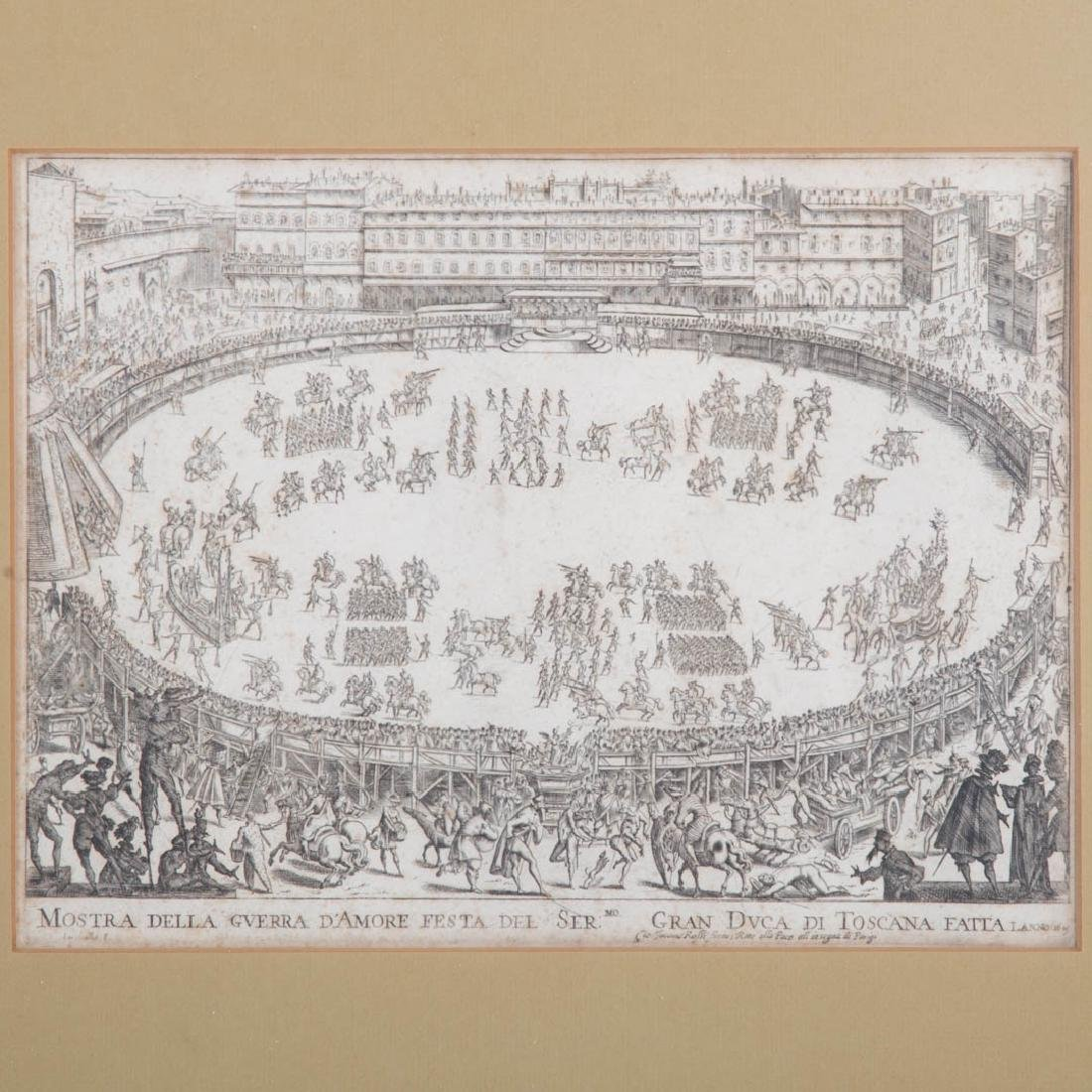 Jacques Callot. Two framed etchings of Florence - 3