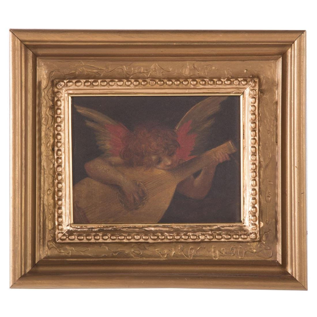 A.S. Martelli. Angel Playing Lute, oil on canvas