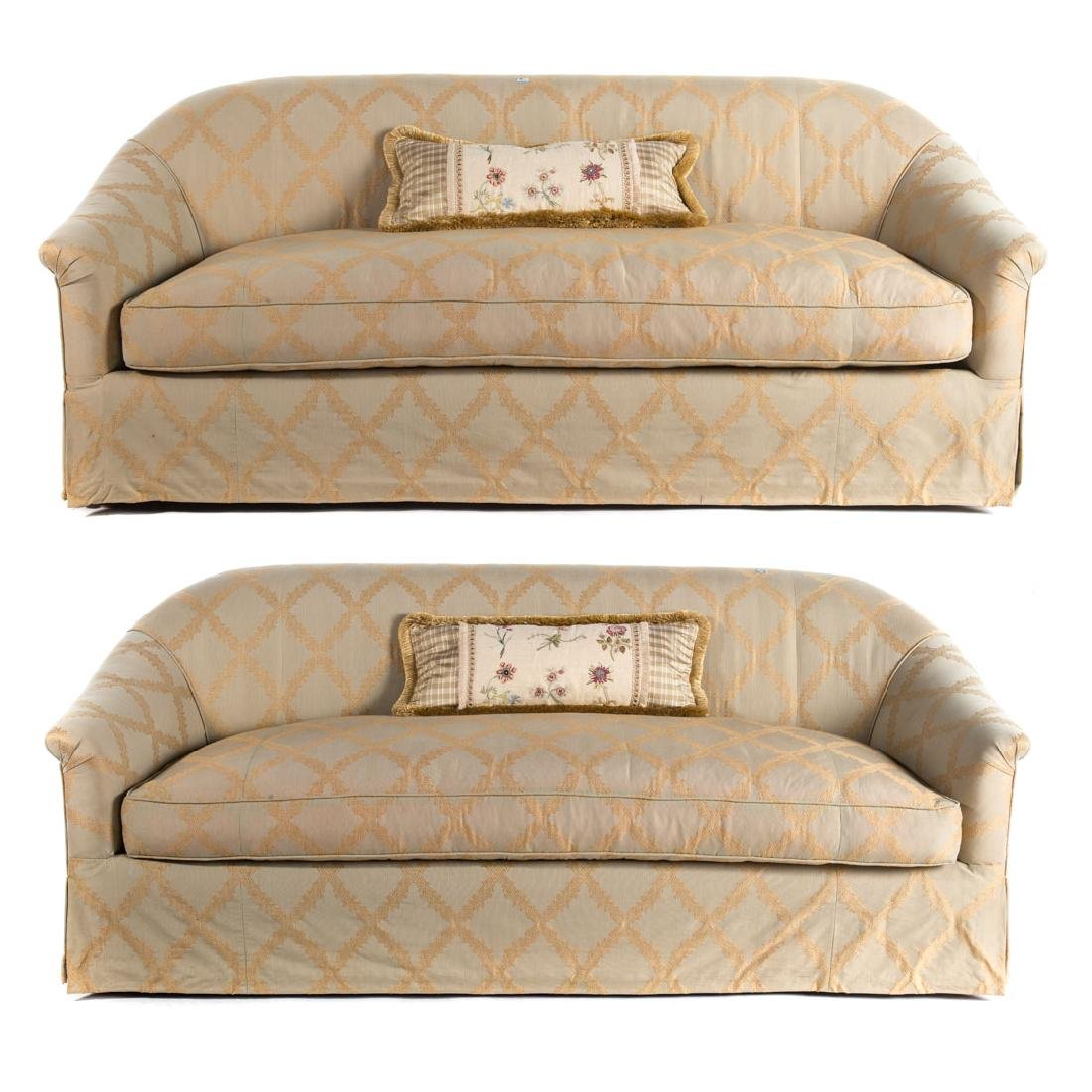Pair R. Jones Contemporary upholstered sofas