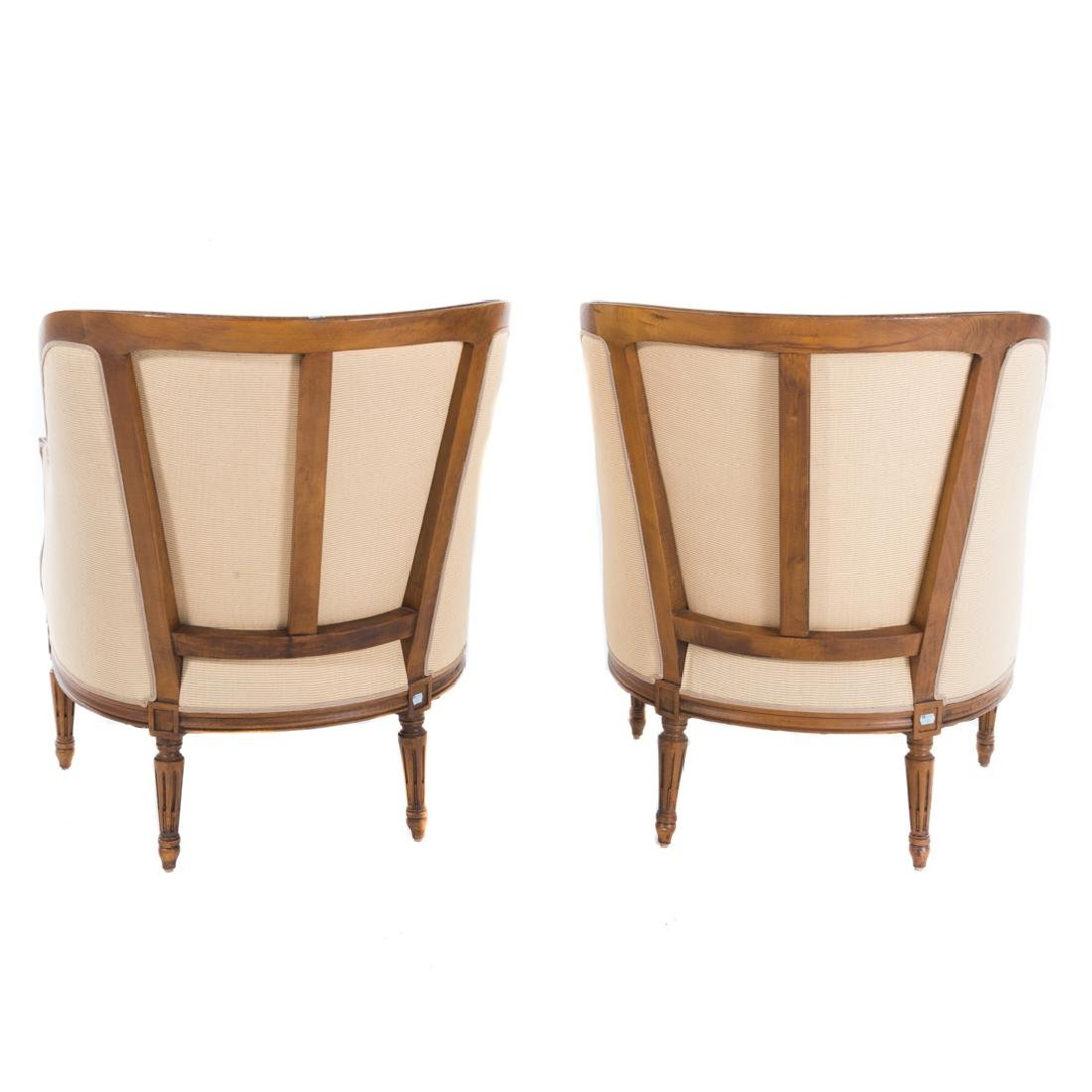 Pair Louis XVI style carved fruitwood bergeres - 4