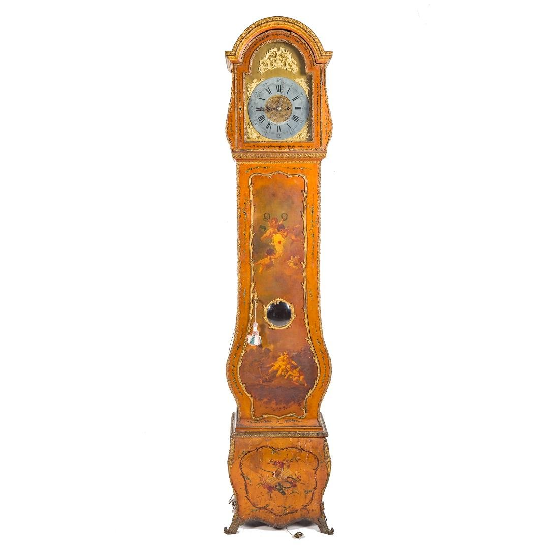 Louis XV style Vernis Martin bombe tall-case clock