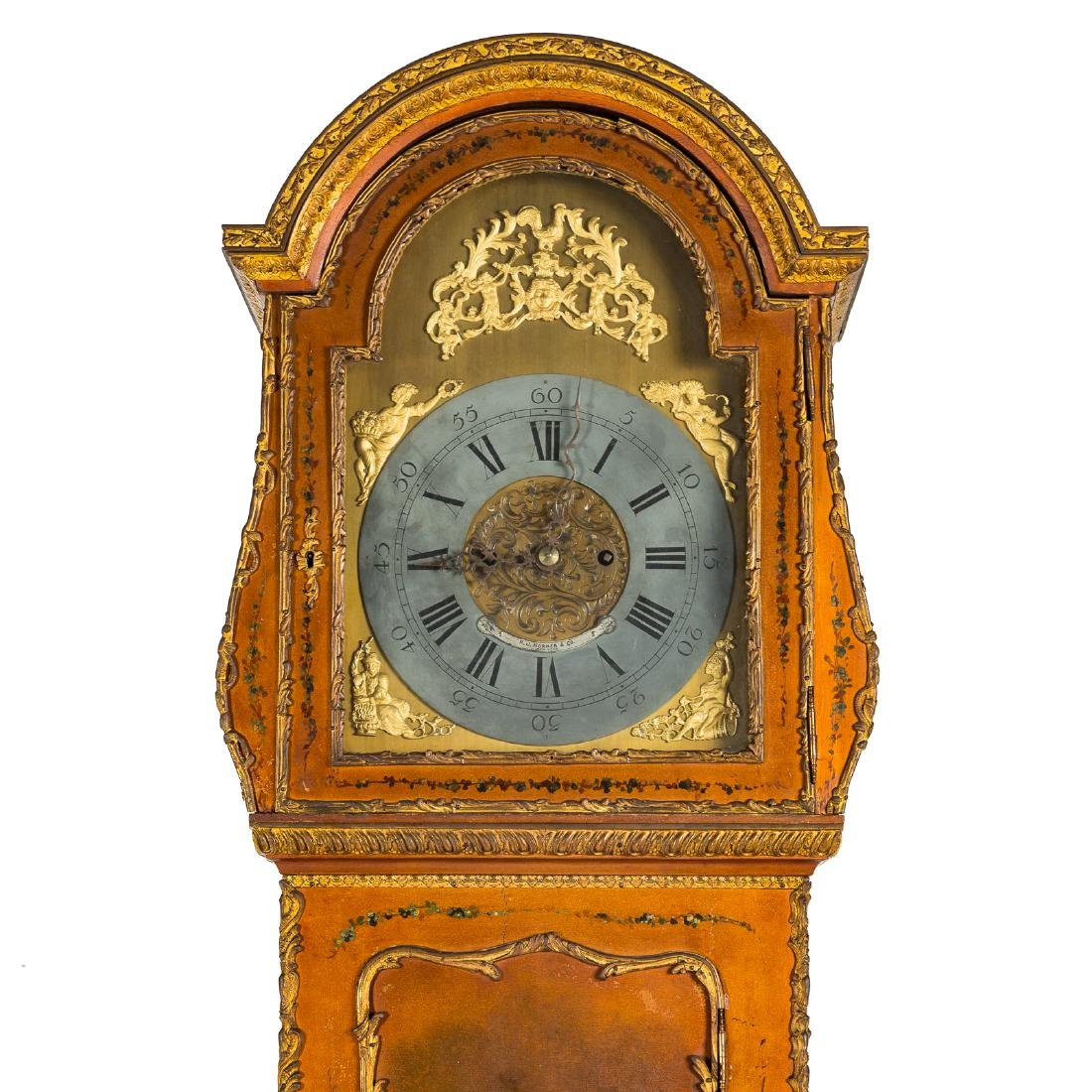 Louis XV style Vernis Martin bombe tall-case clock - 3