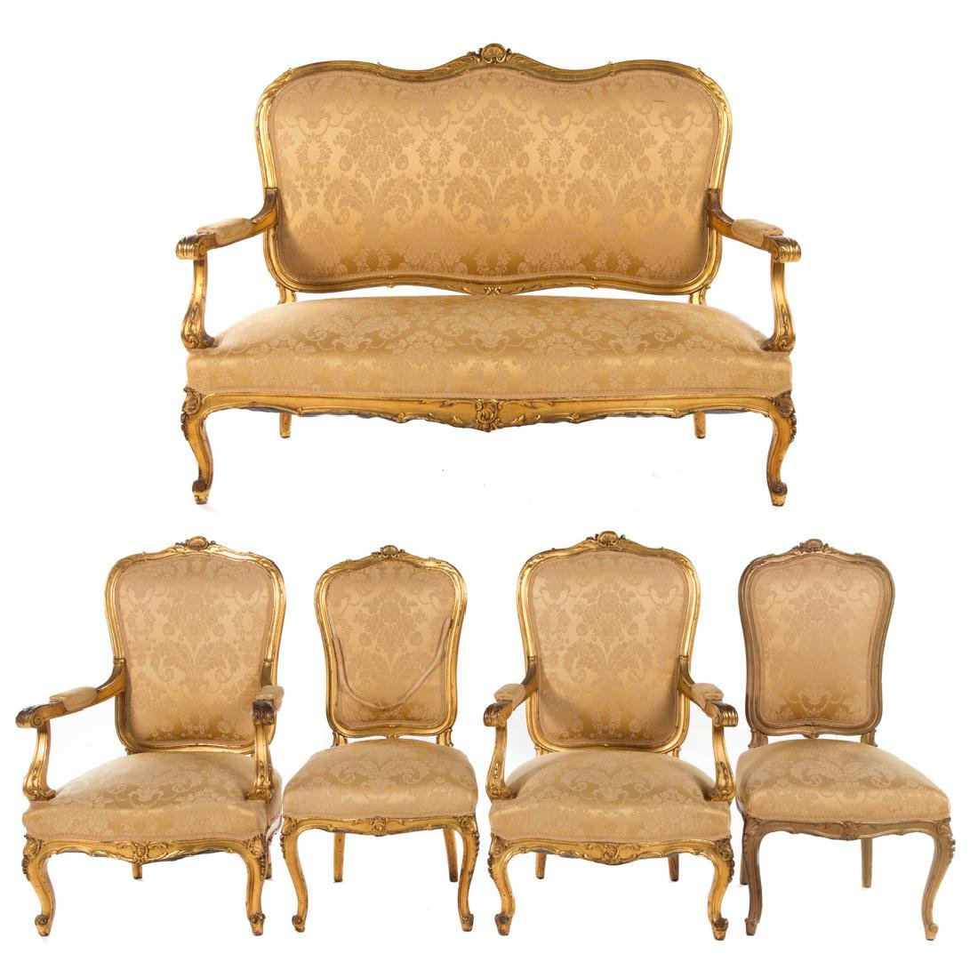 Louis XV style carved giltwood parlor suite