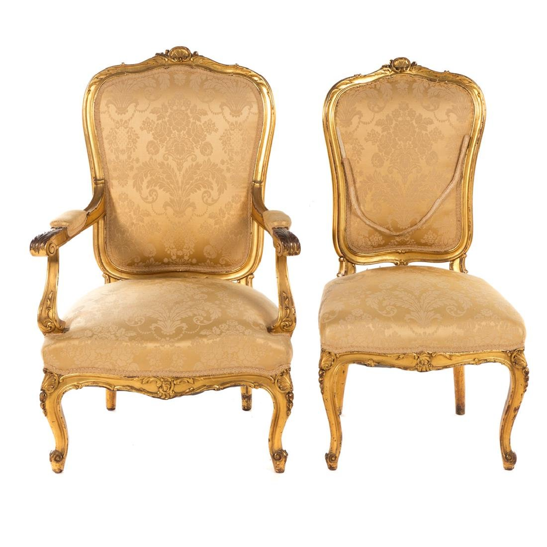 Louis XV style carved giltwood parlor suite - 2