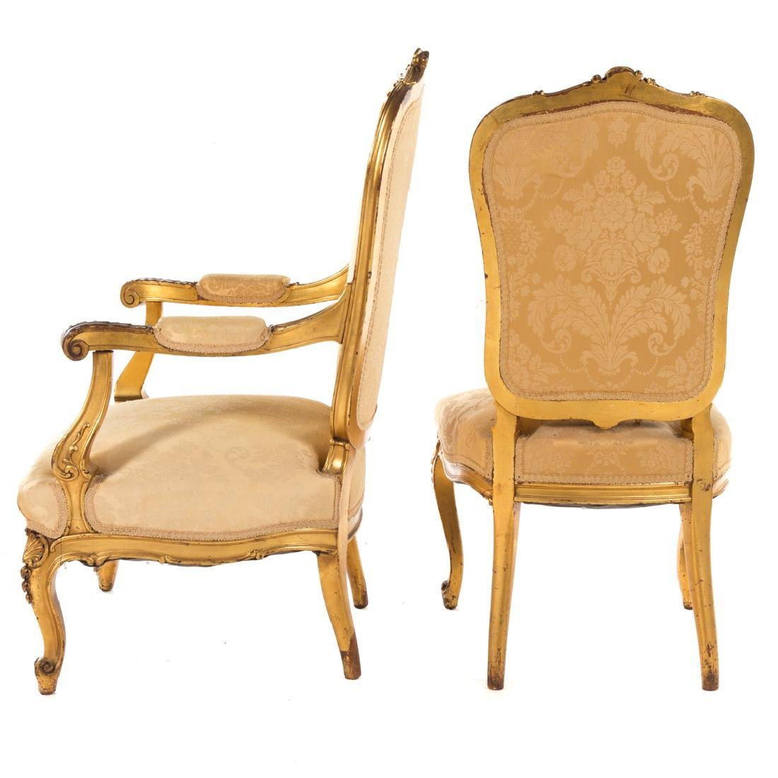 Louis XV style carved giltwood parlor suite - 3