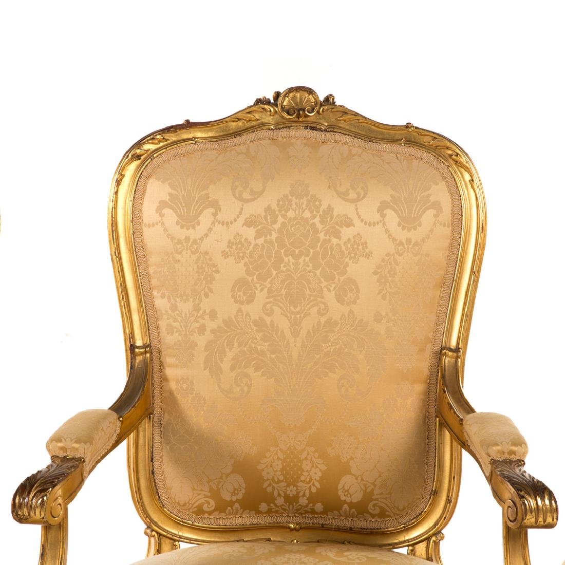 Louis XV style carved giltwood parlor suite - 4